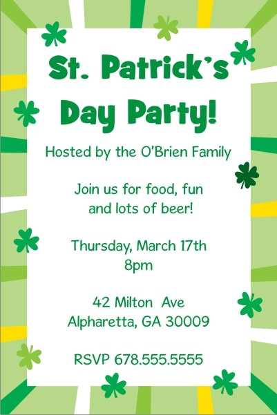 St Patrick\u0027s Day Party Invitation - Shamrock Border Personalized - 's day party invitation