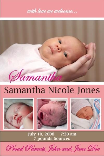 Newborn Baby Birth Announcement (pink) Personalized Party Invites