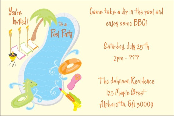Pool Party Invitations 5 Personalized Party Invites