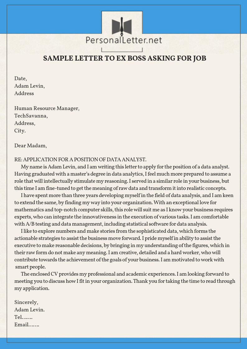 sample letters to request rehire