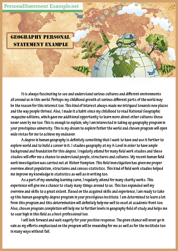 Great Professional Geography Personal Statement Example