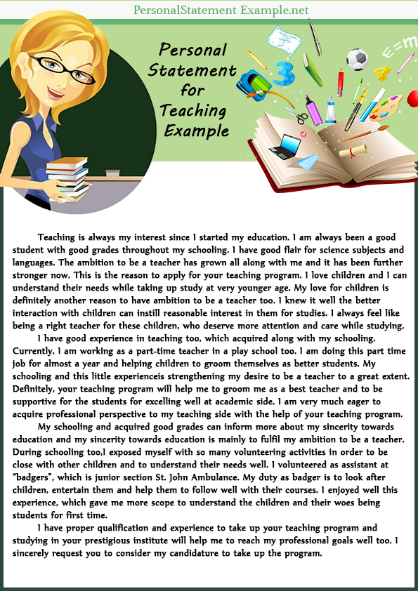 Creative and Professional Example of Personal Statement for Teaching - personal net