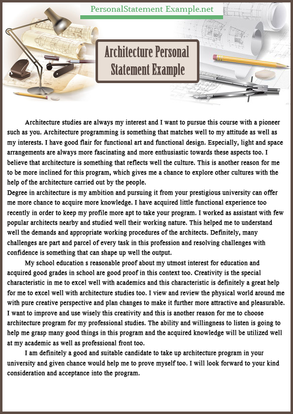 See the Best Example of Architecture Personal Statement - personal statements