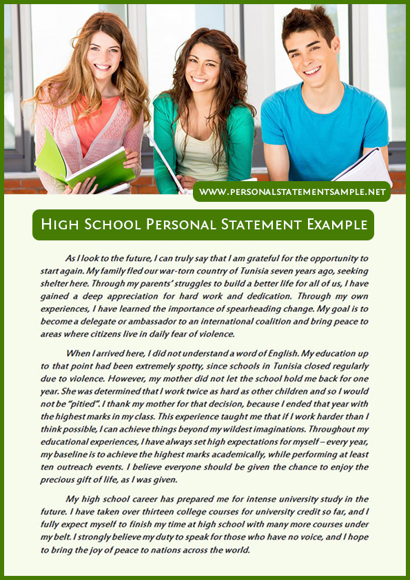 Best High School Personal Statement Examples