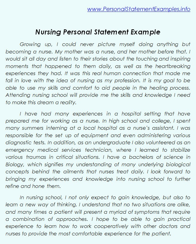 sample nursing goal statement