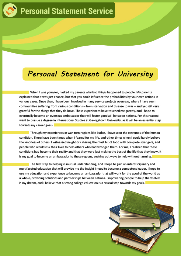 Professional Personal Statement for University Sample