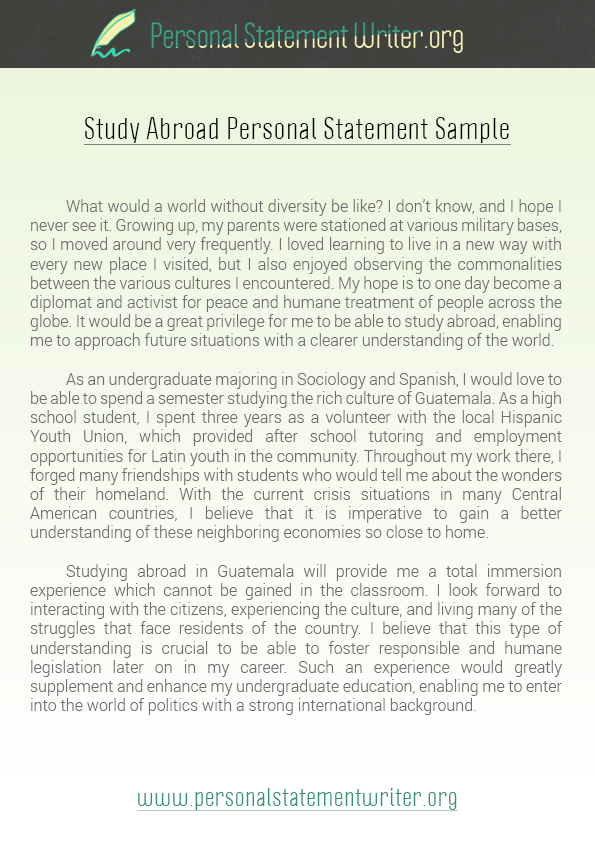 Writing a personal statement will get easier after you see this - study abroad resume
