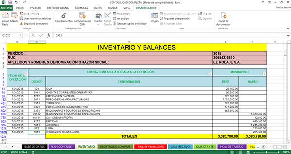 Descargar » Plantilla excel Contabilidad completa - formato inventario en excel