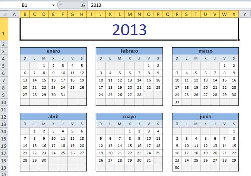 Calendario en Excel 2013 \u2013 Excel Contable