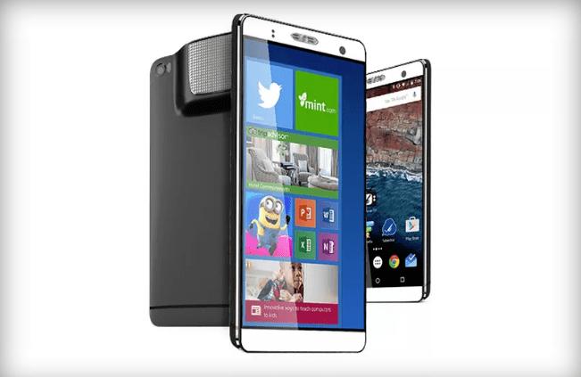 Holophone Phablet, el smartphone con Android, Windows 10 y proyector incorporado