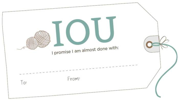 IOU gift tags printable