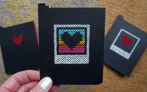 Cross Stitched Polaroid Dark Slide Cards crossstich