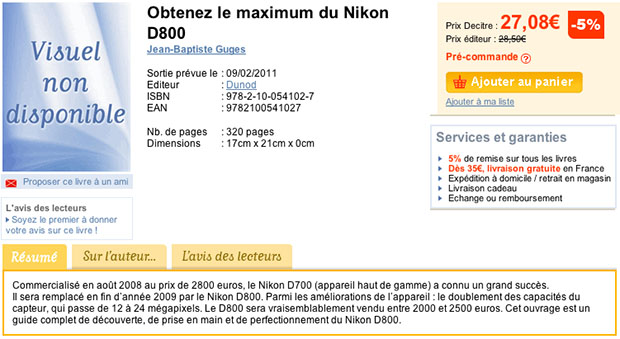 Nikon D800 Possibly Leaked by Listing for French Book screen
