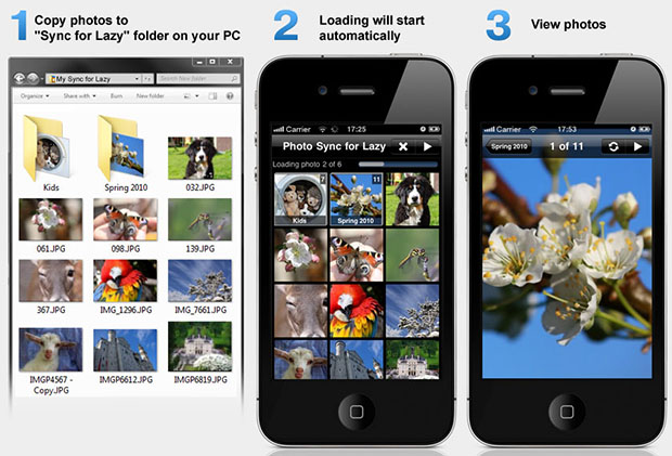 Automatically Sync Photos Over Wi Fi from PC to iPhone sync4lazy