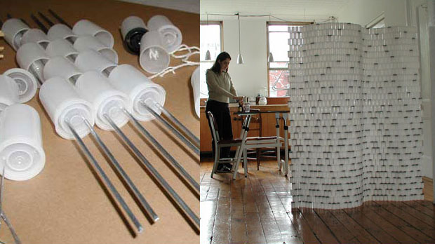 Room Divider Made with Film Canisters filmcanisterdivide