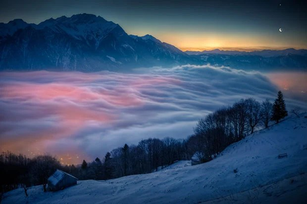 The Moon, Venus, And Glowing Fog over a Swiss Village moonvenus