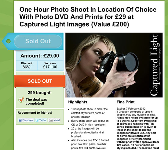 Why Using Groupon May be a Stupid Idea for Photographers groupon1