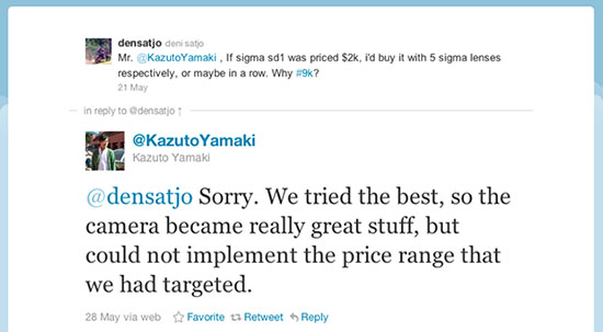 Sigma Exec Apologizes to Customers on Twitter for SD1 Price twitterresponse