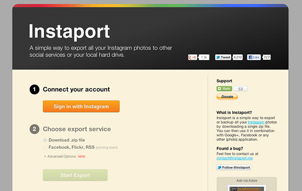 Instaport Lets You Download All Your Instagram Photos as a Zip File instaport mini