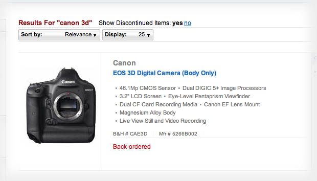 Canon 3D Appears Briefly on B&H Before Vanishing Into the Night canon3d