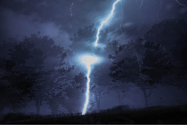 One in a Million Double Exposure Photo Caused by a Lightning Strike double