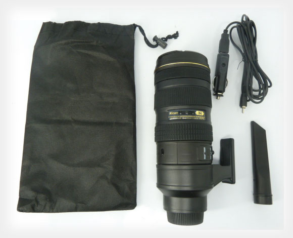 Portable Vacuum Cleaner in the Shape of a Nikon 70 200mm Lens carduster