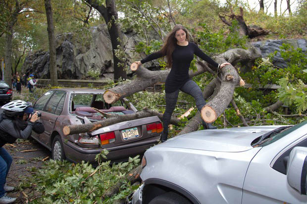 Internet Slams Model for Using Hurricane Sandy Wreckage for Photo Shoot  modelsandy 0