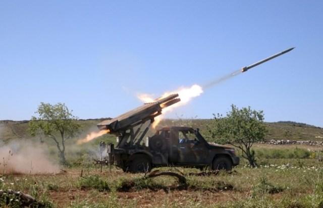 Ahrar Al-Sham Fire Grad Missiles at Assad Forces in Jureen, Idlib Province