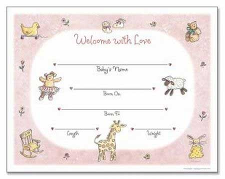 girl birth certificate template - Certificate Of Birth Template