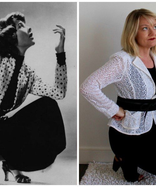 Katherine Hepburn from the 1930s wearing a black dress with graphic print blazer which is cinched with a belt next to a photo of a women posing in a similar outfit in a similar pose.
