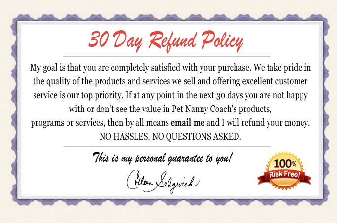Refund Policy \u2013 Pet Nanny Coach