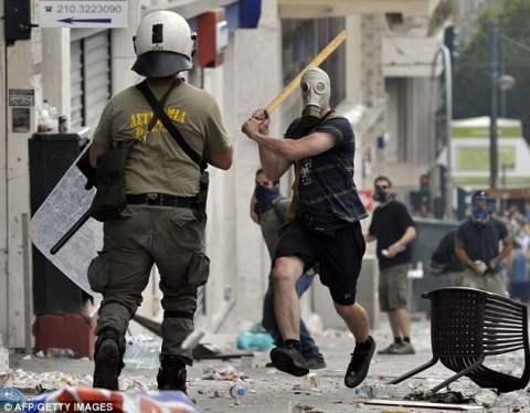 Greece gas mask demonstrator