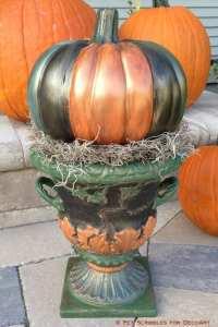Fall Decor: Antiqued Outdoor Pumpkin Urn - Pet Scribbles