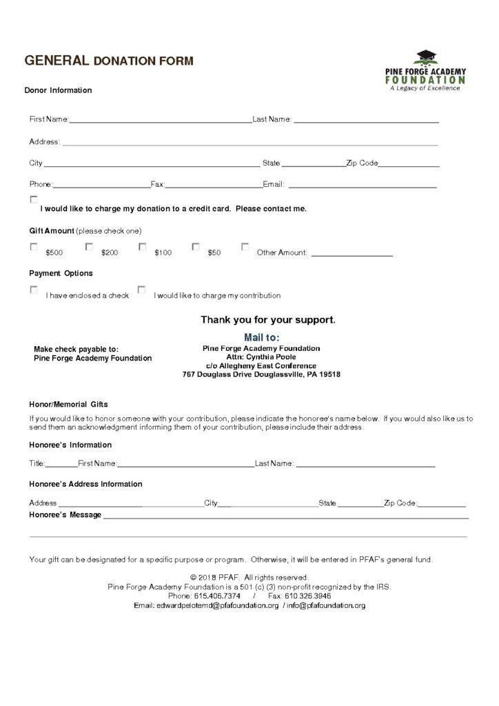 Donation Forms \u2013 Pine Forge Academy Foundation