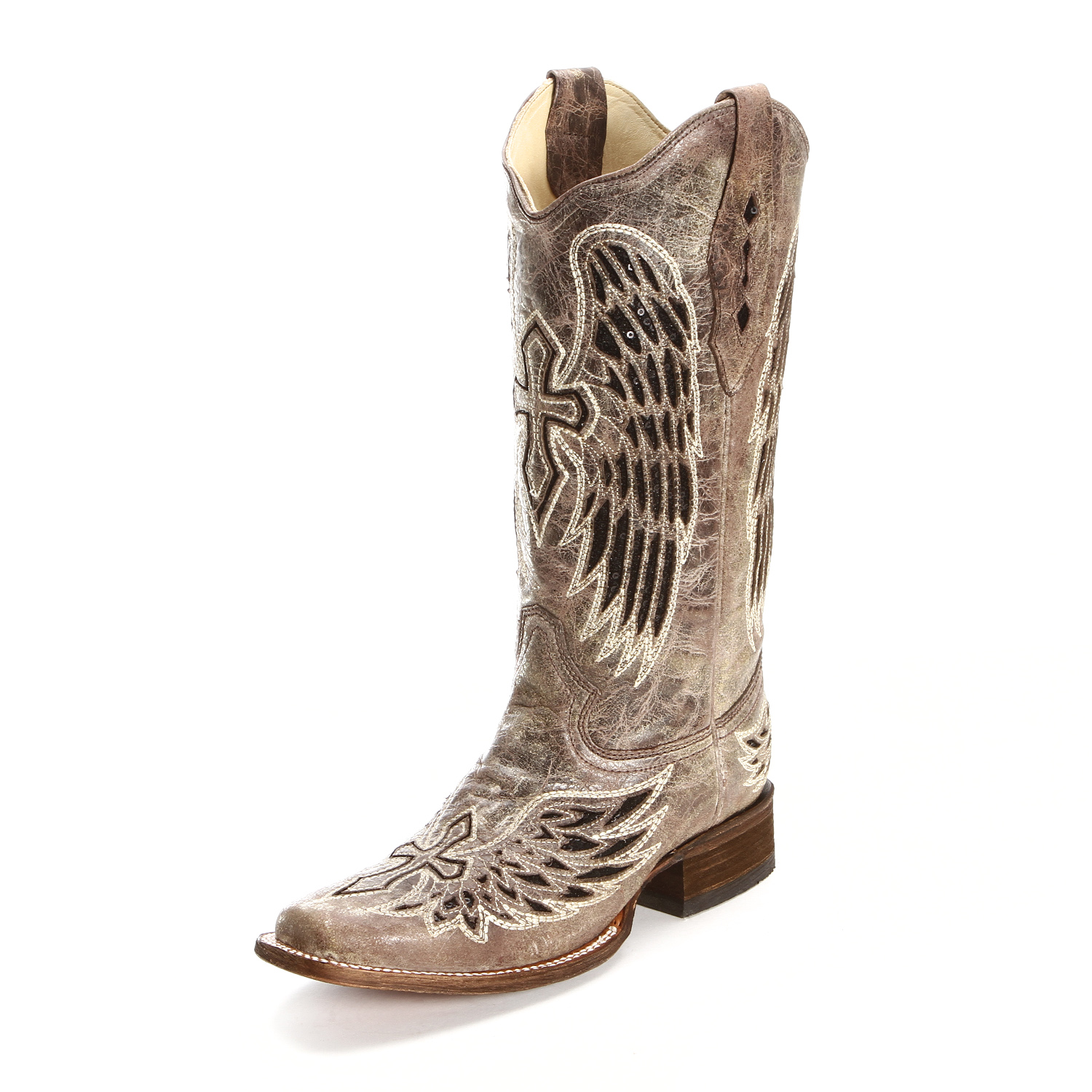 Corral Womens Sequin Cross Inlay Square Toe Cowgirl Boots Tan