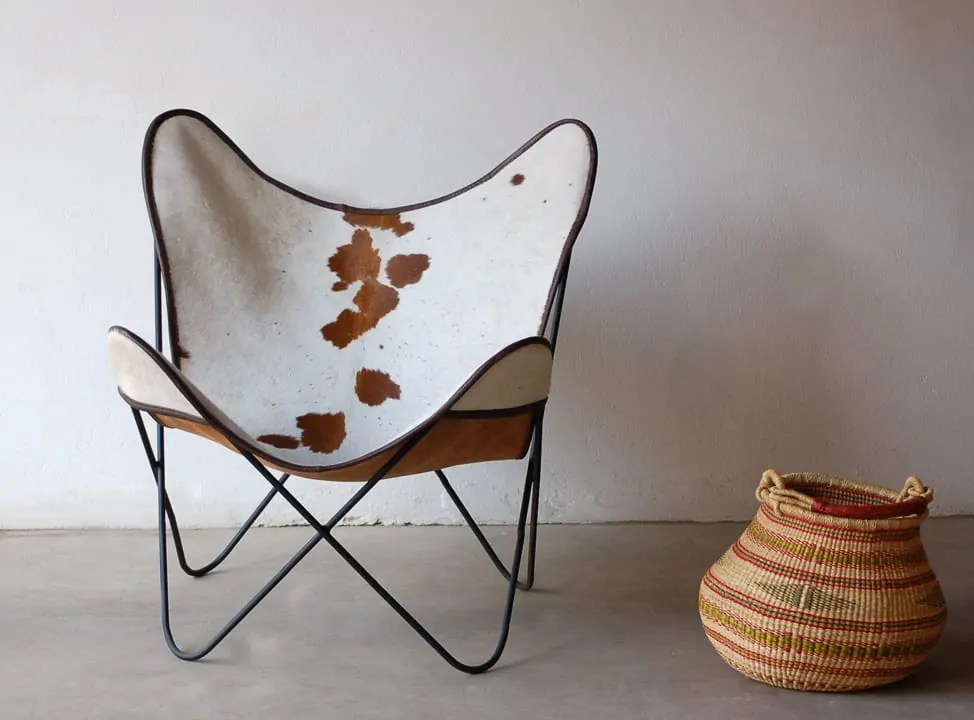 Mid Modern Century Chair Cowhide Phases Africa African