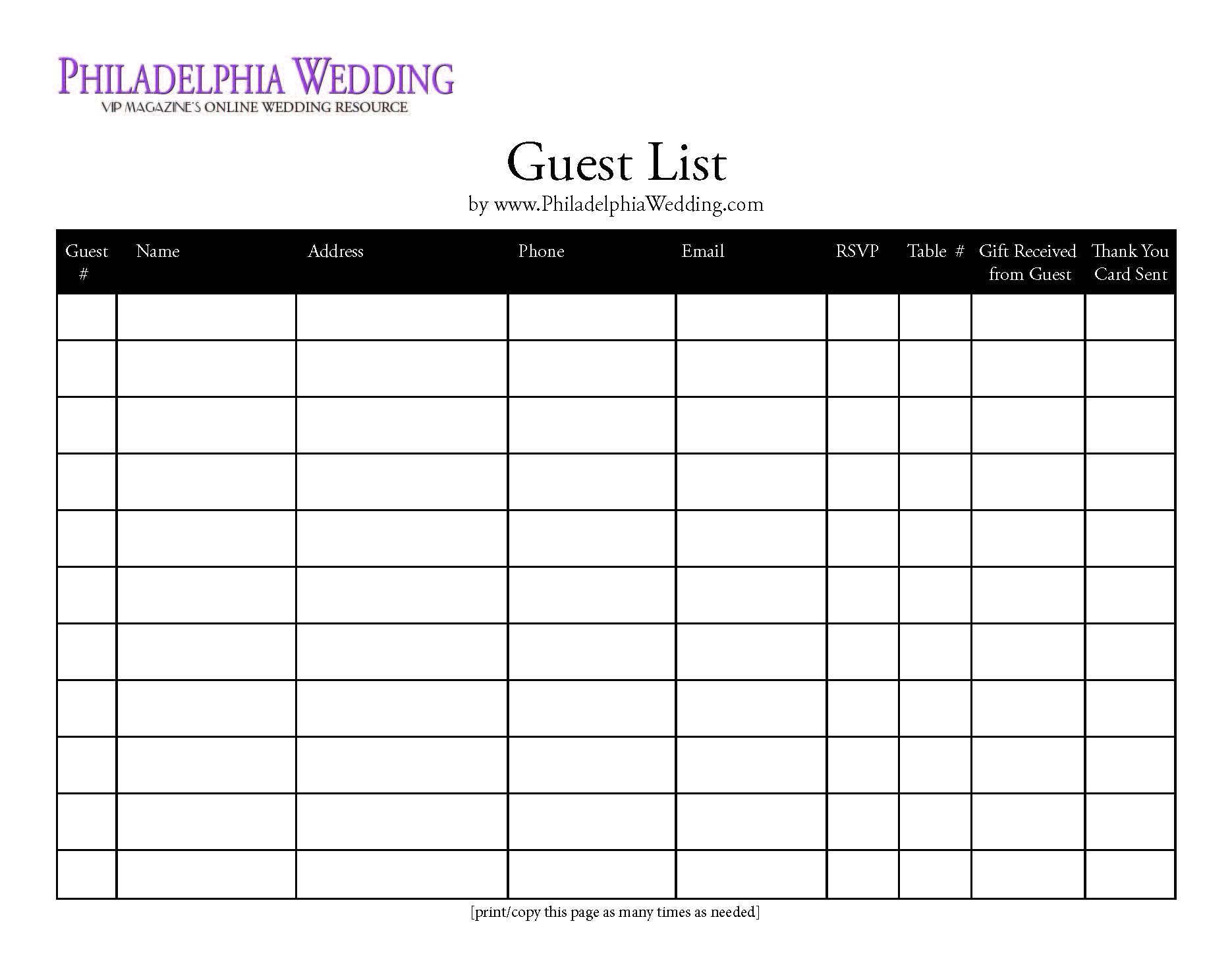 Wedding Guest List Template App Wedding Guest List Free Template – Guest Card Template