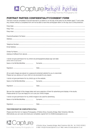 Parental Consent Form - Philip Fearnley Photography - consent form