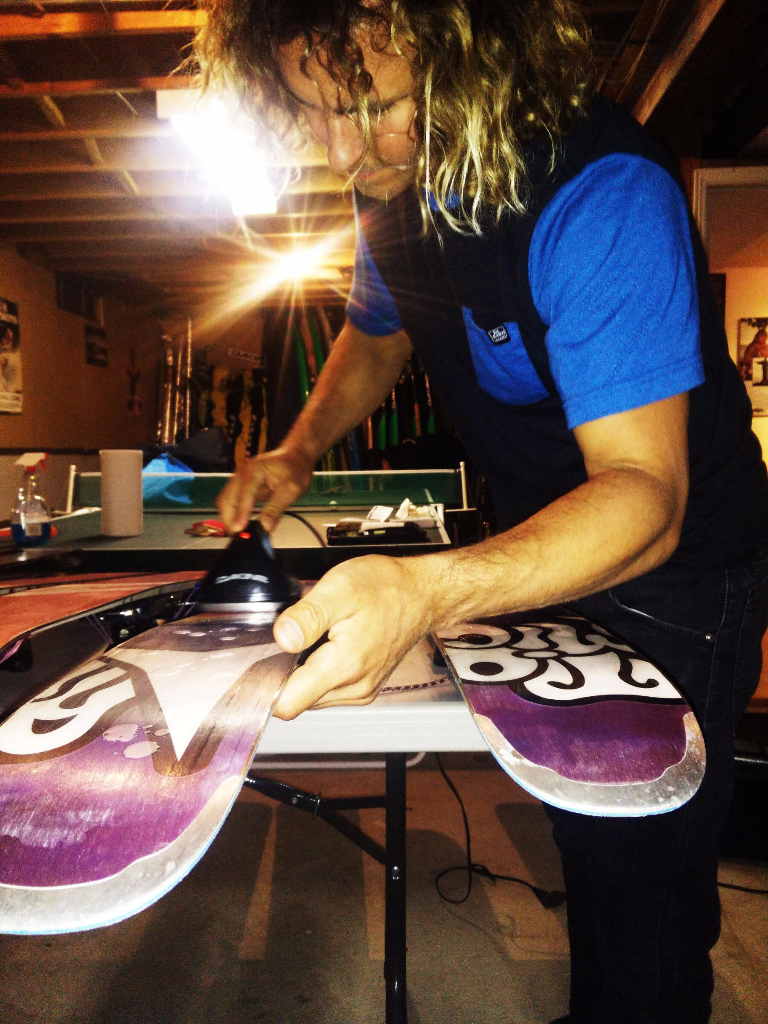 Waxing skis in preparation for the trip to Revelstoke.
