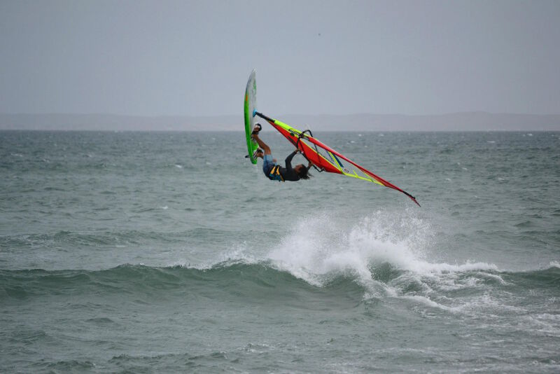 Upwind ramp Phil Soltysiak backloop on Isla Margarita, Venezuela. Photo by Adam Wojtkowiak.
