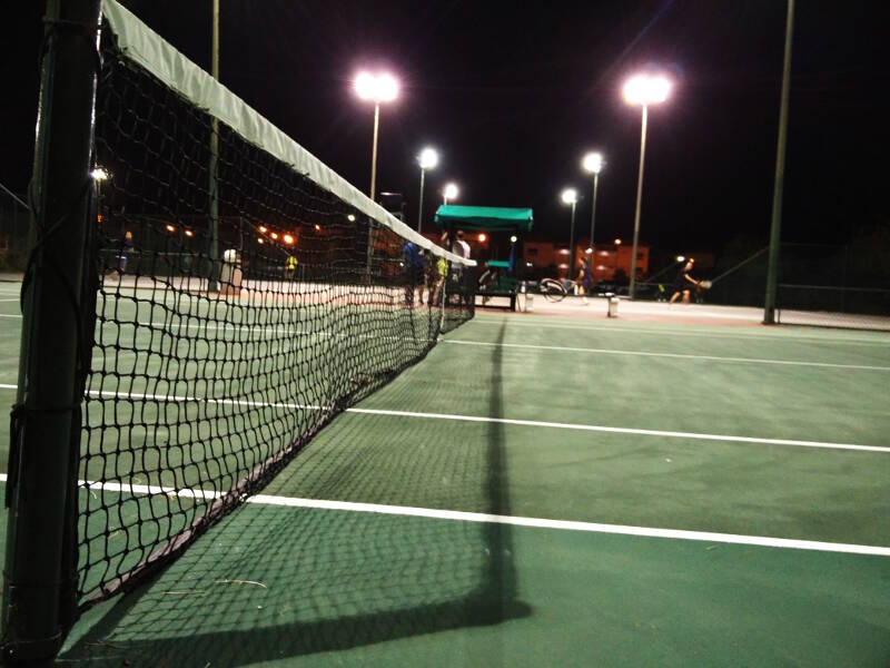 The tennis courts at Laguna Mar, a 40 minute taxi ride away.