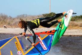 Phil Soltysiak CAN 9 zoomed in windsurfing action at the Canadian Hole, Cape Hatteras, North Carolina. Photo by Makani Fins.