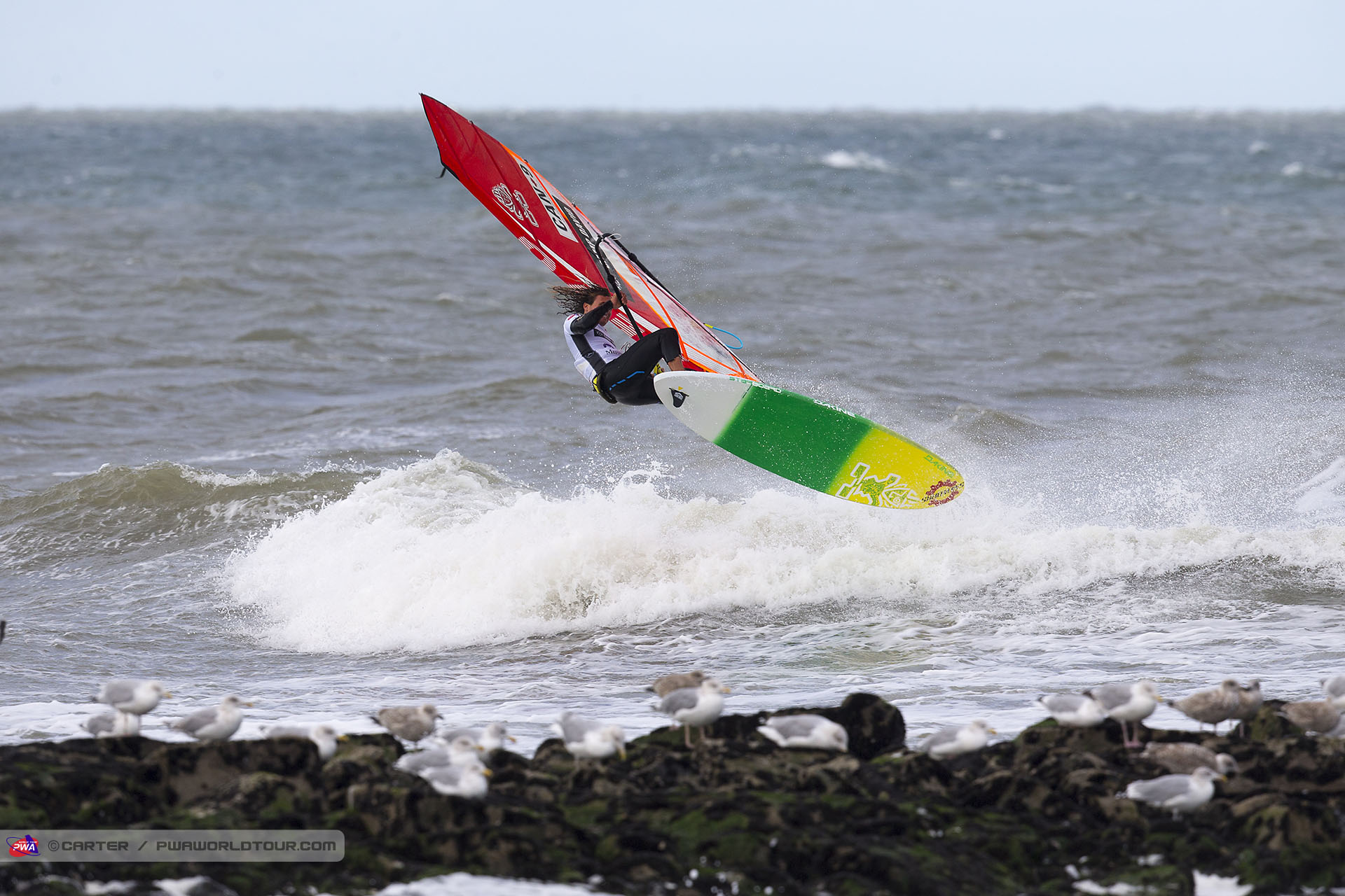 Phil Soltysiak spinning on the way in during PWA World Tour heat.
