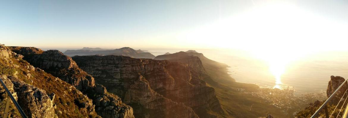 View from the top of Table Mountain looking out back towards the 12 Apostles.
