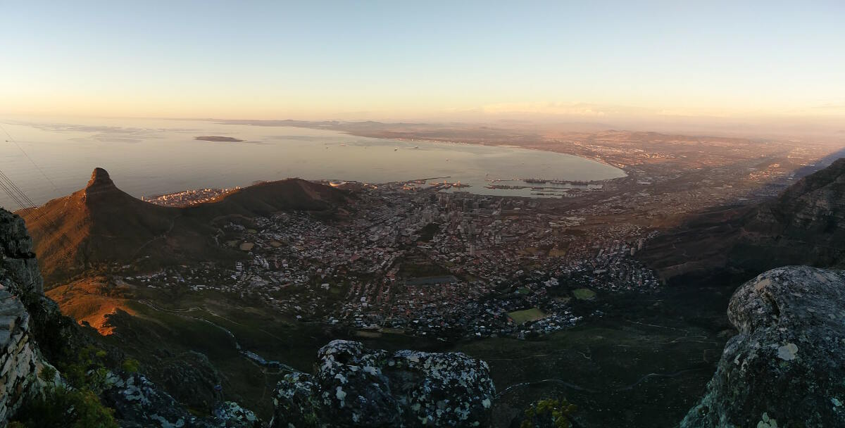 View from the top of Table Mountain looking towards Cape Town and Robben Island in the distance