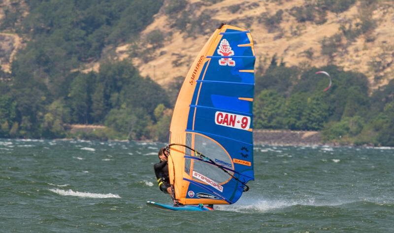 Phil Soltysiak slalom windsurfing in the Gorge - Photo by Bob Stawicki