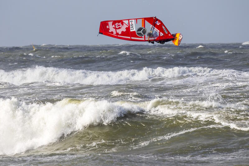 Phil Soltysiak windsurfing mid-heat in Sylt, Germany. Photo by John Carter