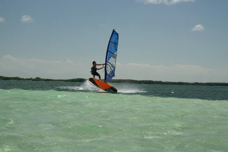 Barcadera on Aruba offers perfect freestyle windsurfing conditions! Photo by Adam Wojtkowiak.
