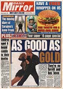 Digital Camera picture on Front Page of Daily Mirror in 1994