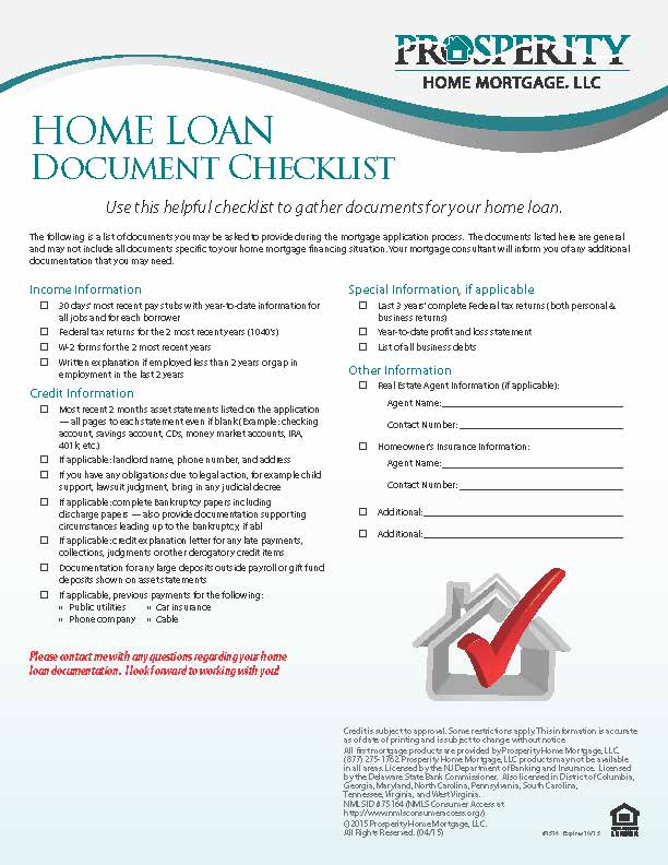 Home Loan Document Checklist - Prosperity Home Mortgage, LLC - sample home buying checklist